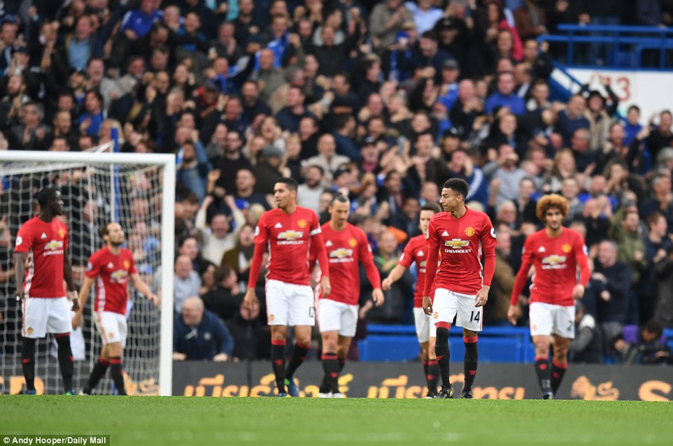 United players show their dejection after conceding another goal on a rough afternoon at Stamford Bridge