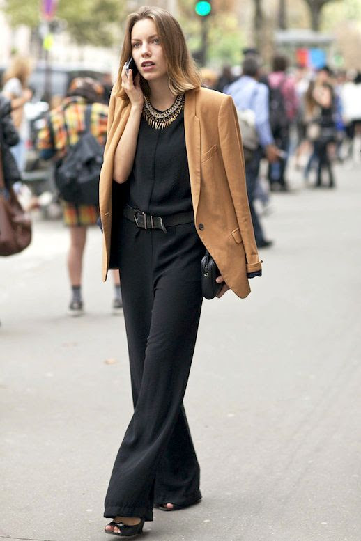 Le Fashion Blog Street Style Pfw Camel Blazer Black Jumpsuit Statement Necklace Belt Heeled Sandals Via Popsugar
