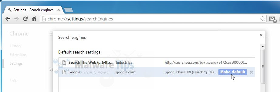 [Image: Google WebHP browser redirect ]