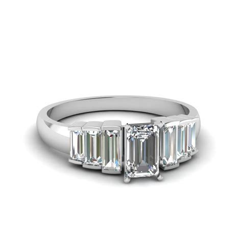 Baguette Engagement Ring In White Gold   Fascinating Diamonds