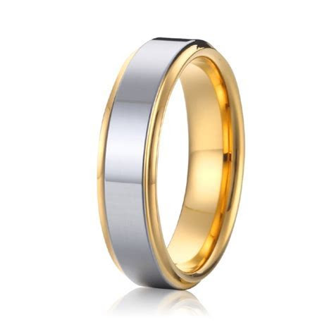 Cheap two tone silver and gold plated titanium mens