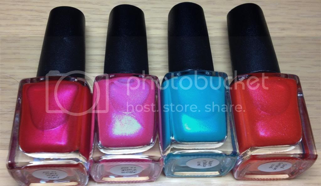 CbL Colors by Llarowe Spring Frenzy Nail Mail Sheens Julie Julie Julie, Neon Punk, Waters of Belize, Coral Confusion