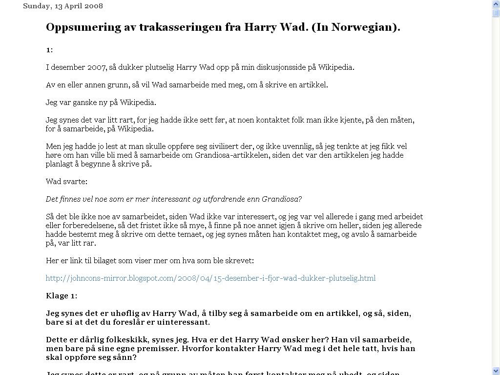 harry wad oppsummering