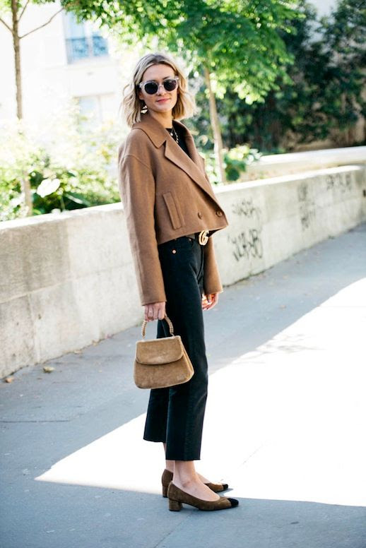 Le Fashion Blog Blogger Style Blonde Short Wavy Hair Clear Sunglasses Layered Necklaces Tibi Cropped Camel Coat Black Shirt Gucci Belt Mini Bag Pants Suede Cap Toe Block Heels Via Adenorah