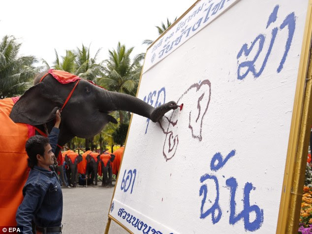Raising awareness: A 10-year-old female Thai elephant uses its trunk to create a painting depicting a shot dead elephant with Thai words reading 'Stop Killing Me' in Pattaya
