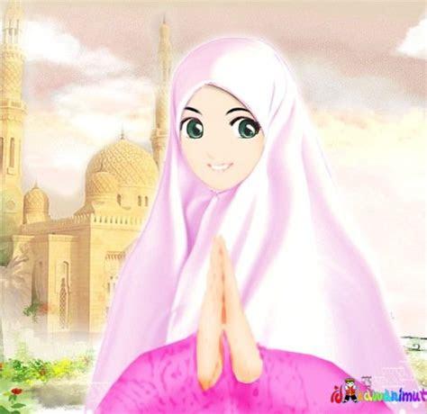 red rose cutenye gambar kartun muslimah