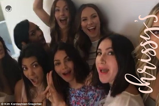 Girl power: The women cheered as Kim shared a Snapchat video while they posed for photos