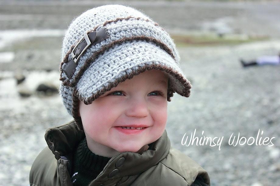 "PATTERN: ""Linden Newsboy"" Crochet Toddler Visor Hat"
