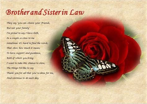 BROTHER & SISTER IN LAW personalised poem (Laminated Gift