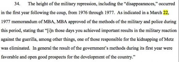 Fragmento del memorando de la Mercedes Benz citado en la demanda judicial.