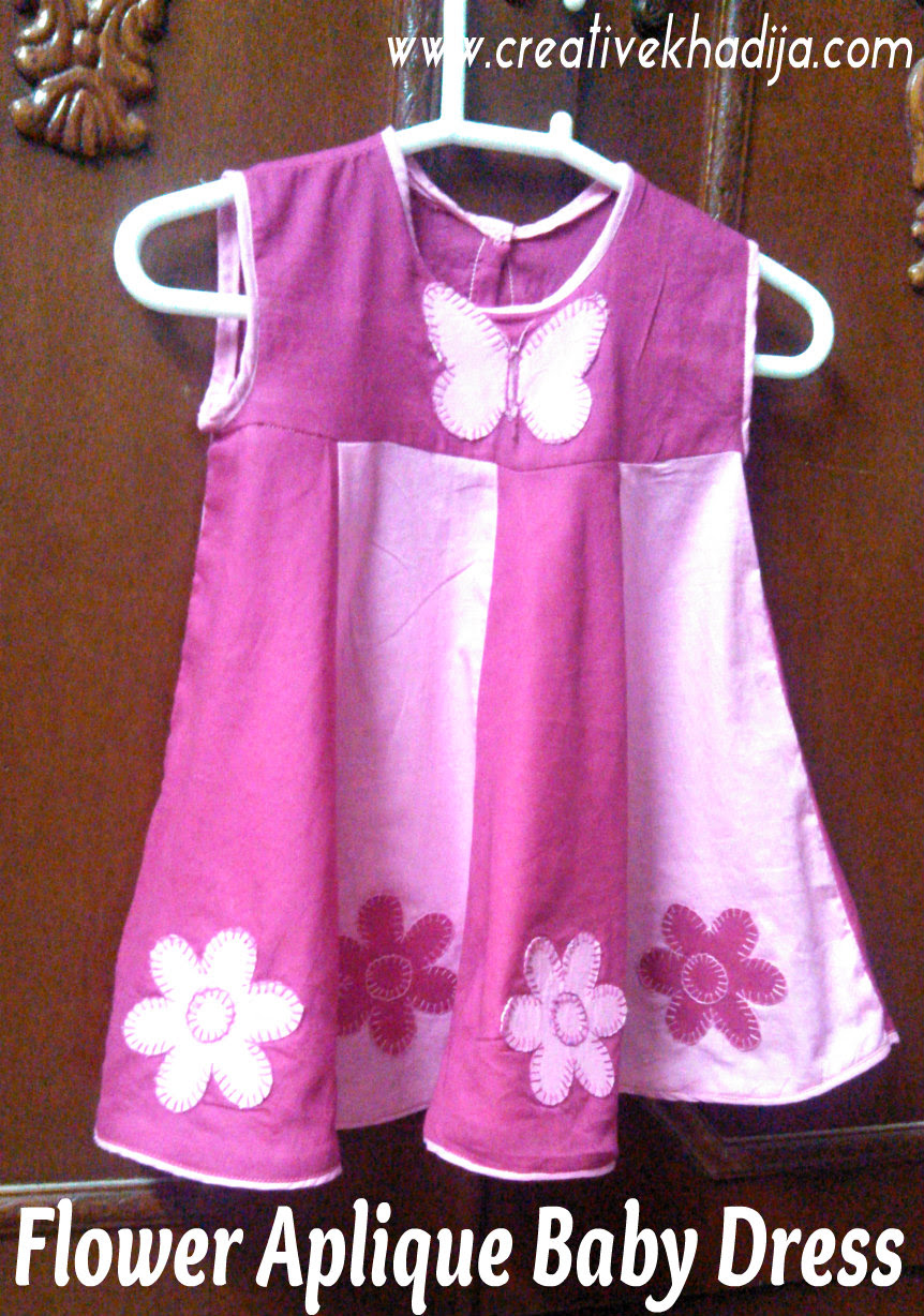 flower applique on baby frock with template