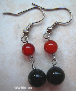 wire wrap earrings with agate