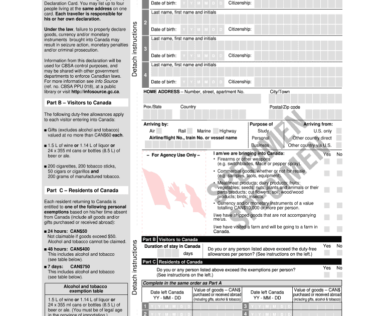 typical files collection cbsa declaration card free download
