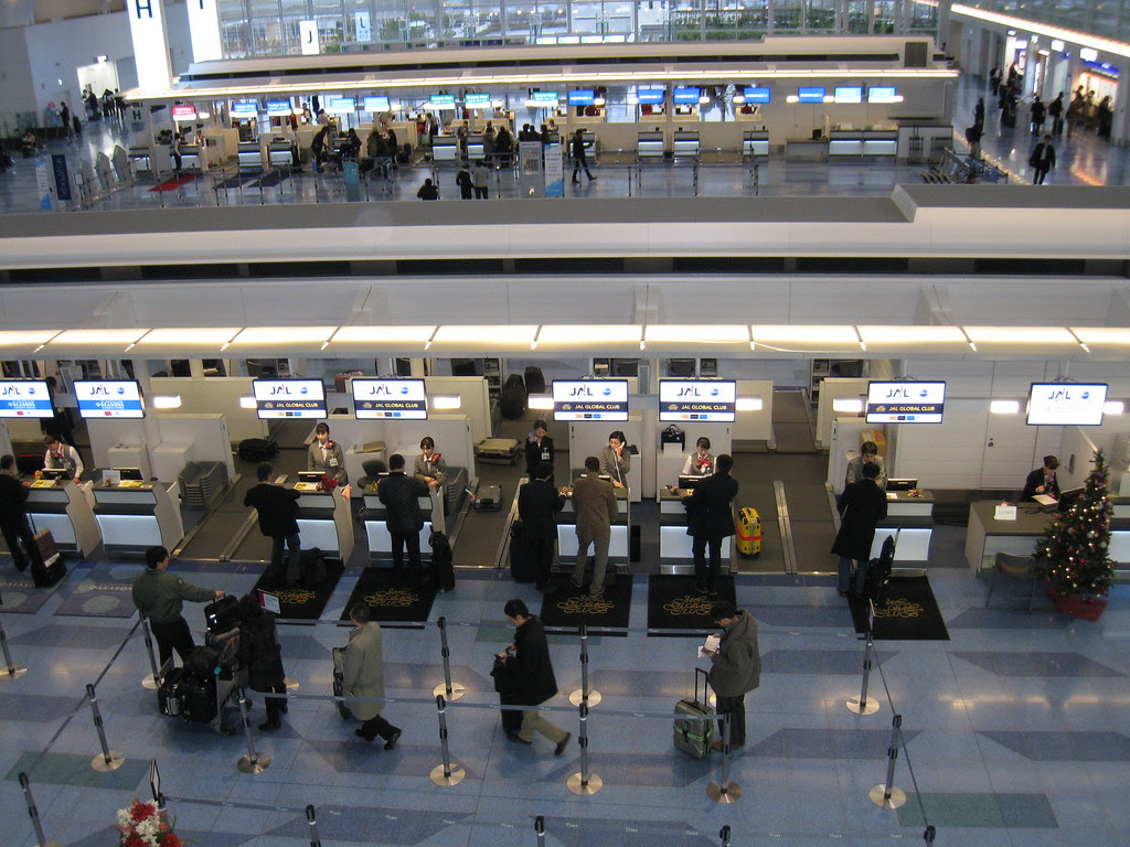 View of Haneda (HND) JAL JGC check-in counters from above