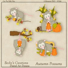 Autumn Possums - PNG - by Beckys Creations
