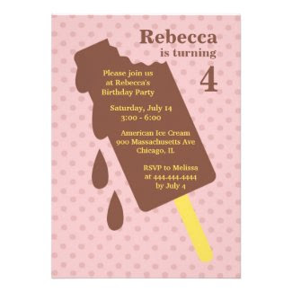 Ice Cream/Popsicle Birthday Party Flat Invitation
