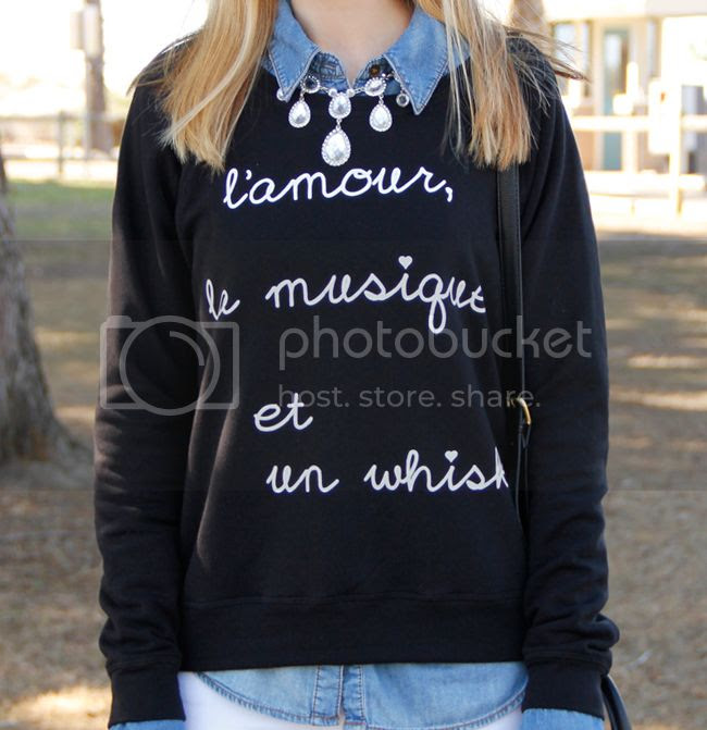 BoBo House The Whisky graphic print sweater with chandelier crystal rhinestone necklace