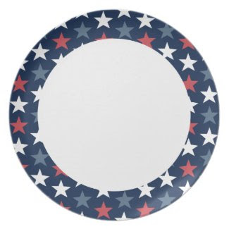 Patriotic Stars Red White & Blue Plate