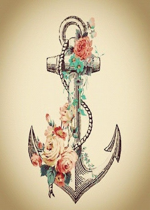 Colored Flowers And Anchor Tattoo Design