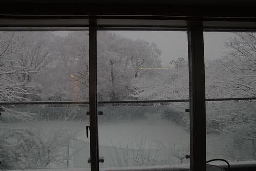 Snow scenery through kitchen window