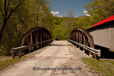 Lunch at Ponn Humpback Covered Bridge, 1874, and Pony Truss Bridge, 2008, Vinton County, Ohio
