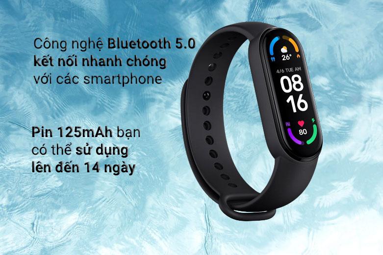 Vòng Đeo Tay Thông Minh Xiaomi Mi Smart Band 6 (Đen)  Công nghệ Bluetooth 5.0