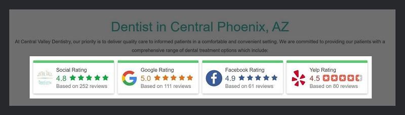 Reviews displayed on Dental Practice's Homepage