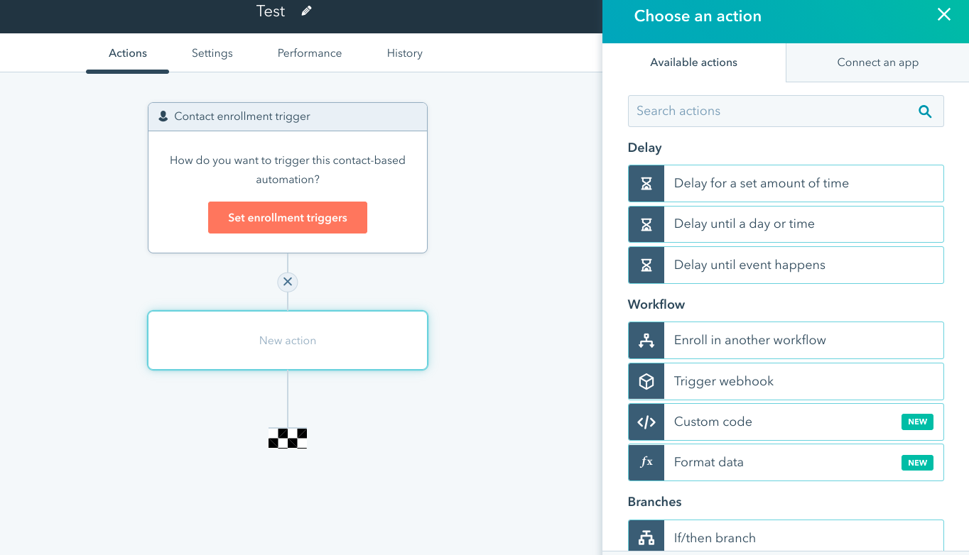 Workflow builder showing available actions