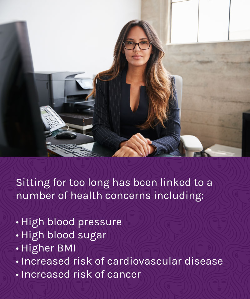Sitting too long, especially when we are seeking fitness over 40, can affect our blood pressure, blood sugar, BMI and more.
