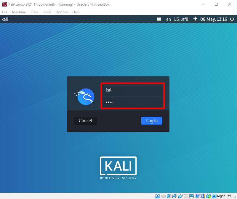 Virtual Hacking Lab. Login into Kali Linux VM. Source: nudesystems.com