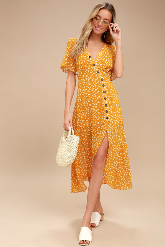 09d4175518c3af Cute Yellow Floral Print Dress - Midi Dress - High-Low Dress