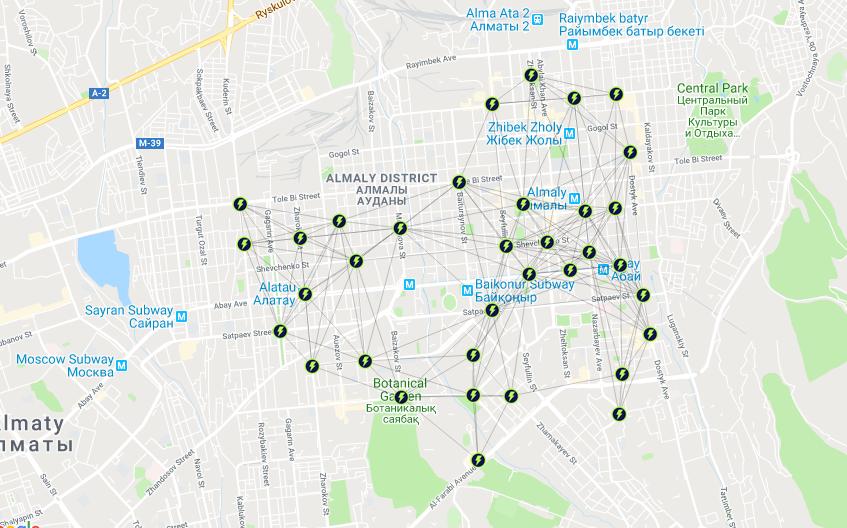 Самокатшеринг в мире считается транспортом первого и последнего километра (первой/последней мили). Карта Ербола Султанбаева для блюскрин.кз