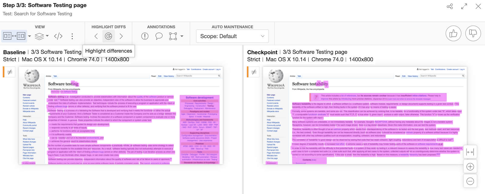 Visual differences between pages
