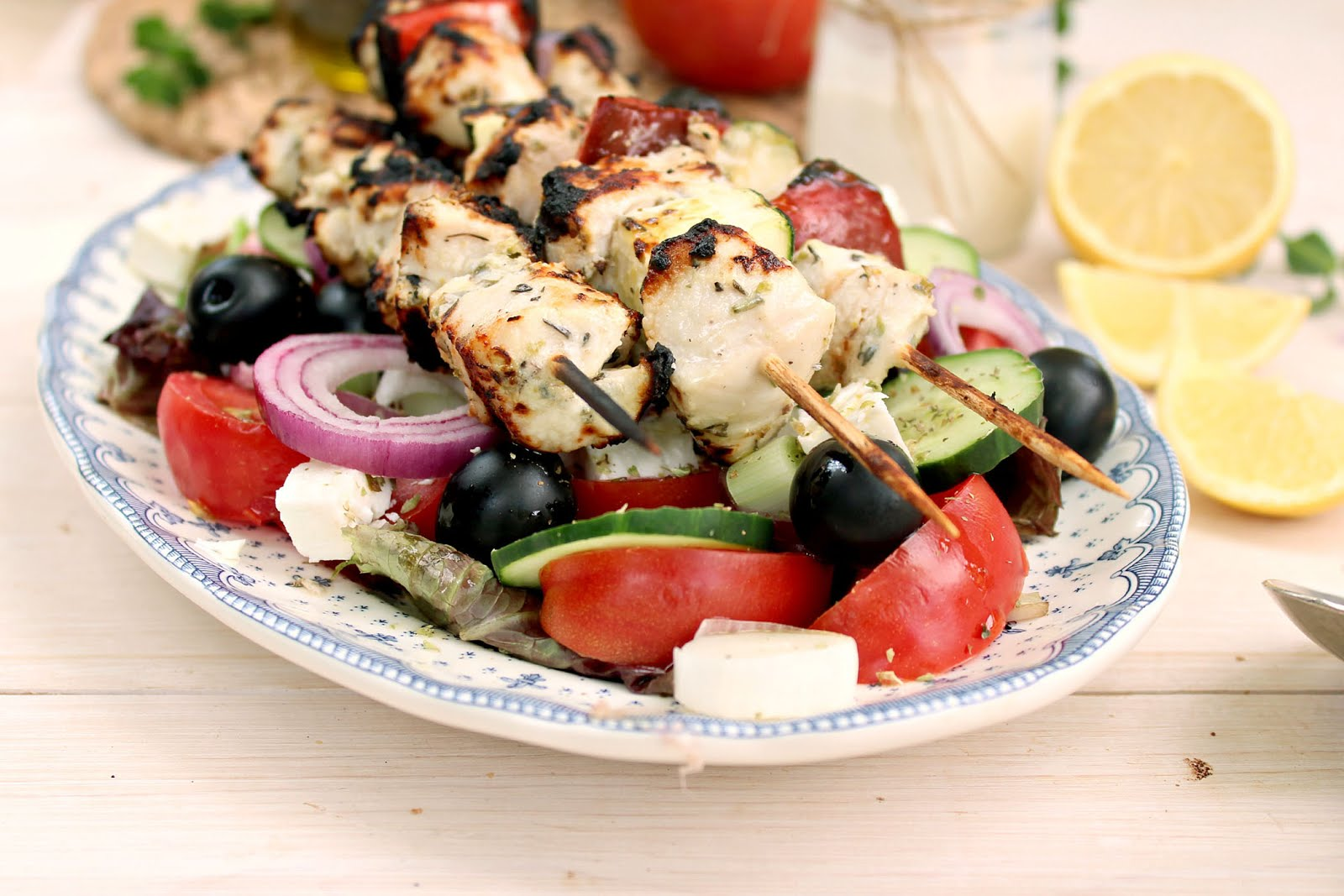 Chicken Souvlaki Kabobs & Greek Salad: super tender, flavorful and healthy thanks to a secret ingredient in the marinade!