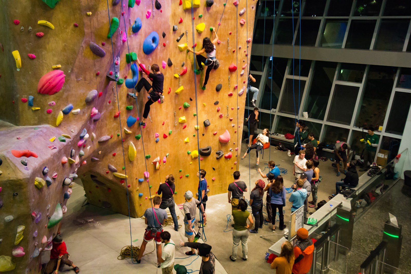 Students climbing and belaying at the BRIC's Bronco Peak.