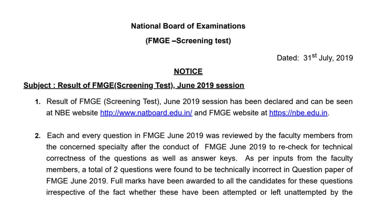 Result notice_FMGE June 2019 pdf - Google Drive