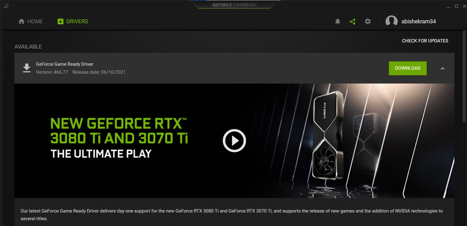 The Nvidia GeForce Experience Drivers page