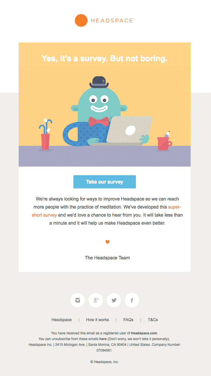 headspace survey email example