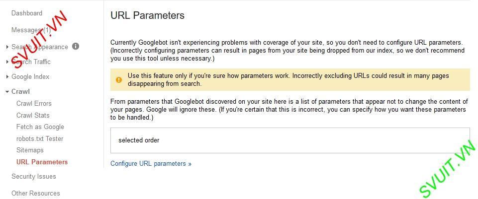 Google webmaster tools URL Parameters(1)