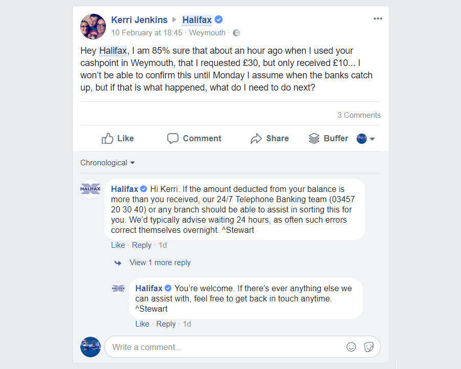 Talking to customers on Facebook business page