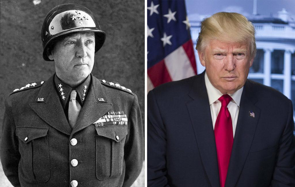 Tướng Patton (trái) và đương kim Tổng thống Hoa Kỳ Donald Trump (phải) giống nhau đến kinh ngạc từ ngoại hình, tài năng, sở thích, tính cách đến niềm tin tuyệt đối vào Thiên Chúa