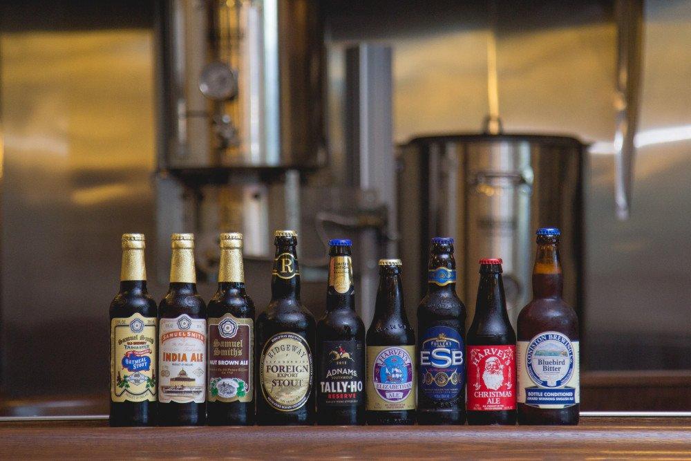english beer bottles