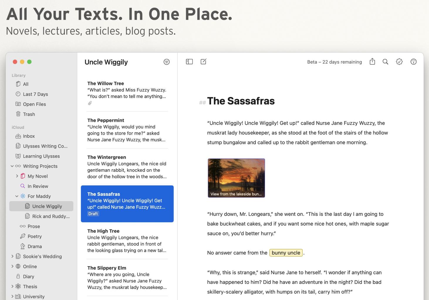 screenshot of Ulysses Writing App user interface
