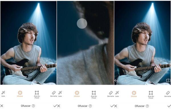 Foto de um homem tocando guitarra, agora em um fundo com luz azul sendo editada pelo AirBrush com a ferramenta Ofuscar