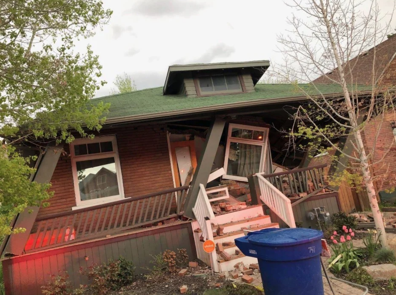 load bearing wall removal causes house to fall down
