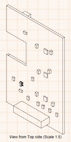 Vista de montaje de un circuito impreso desde el lateral