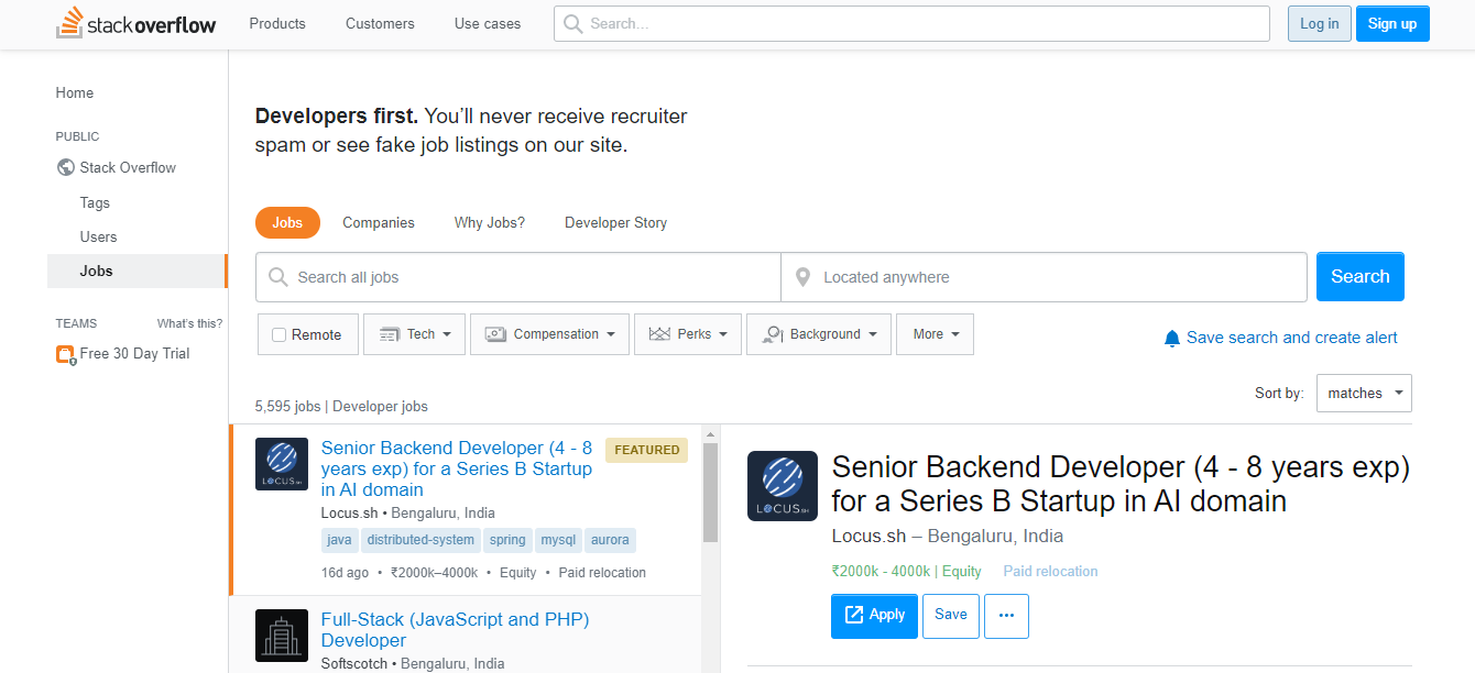 Stack Overflow Jobs - Remote Jobs Board