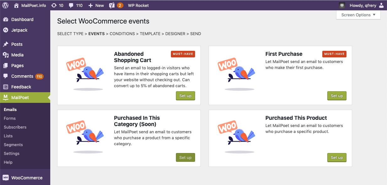 Selecting WooCommerce events in the MailPoet plugin