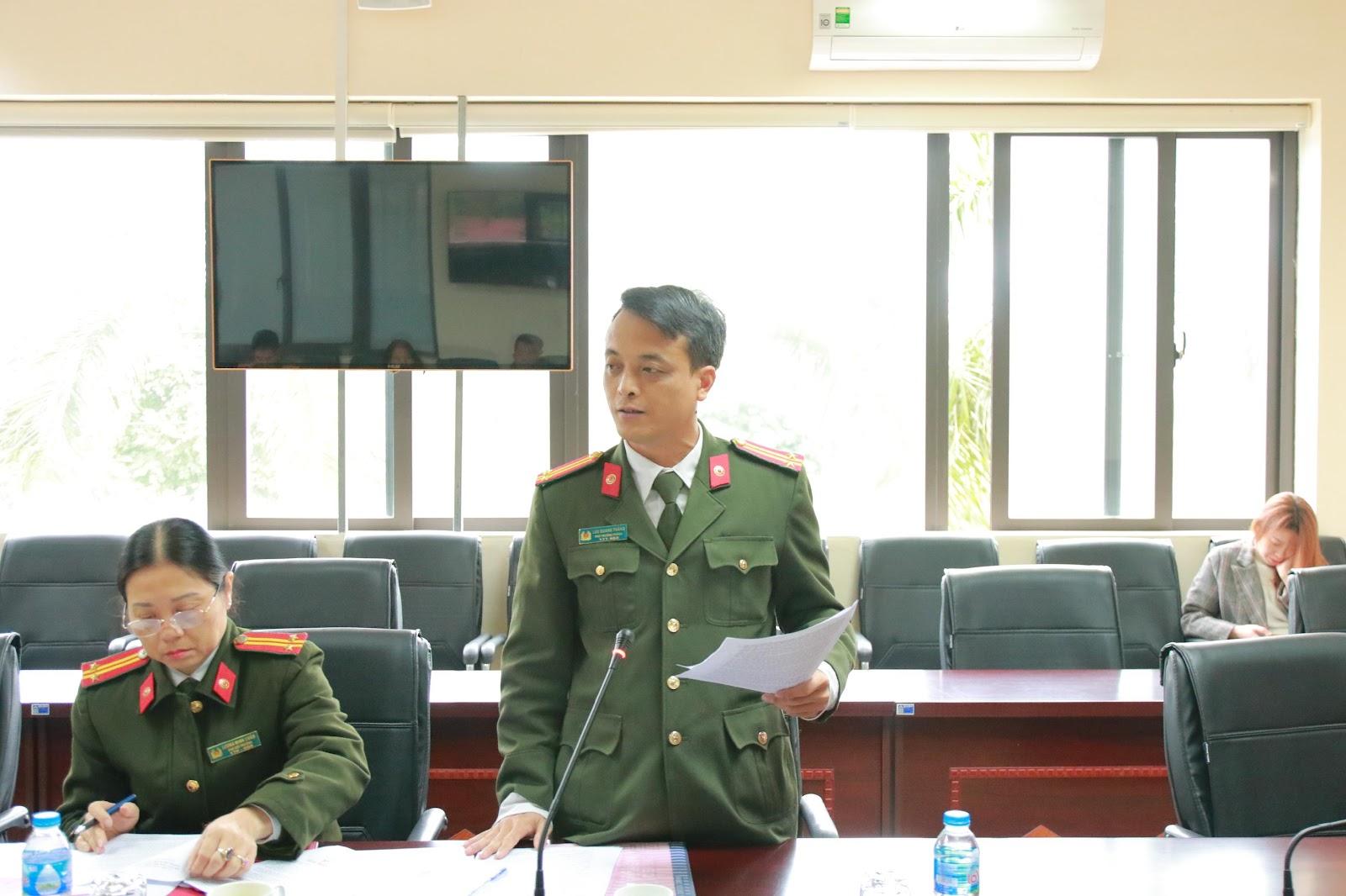 Đại diện Công an tỉnh Thái Nguyên phát biểu tại chương trình