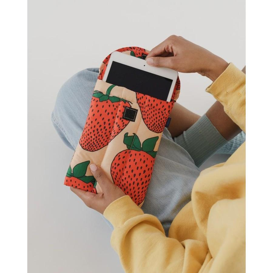 Strawberry puffy tablet sleeve from The Stockist, Mother's Day gift guide